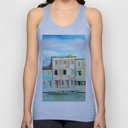 Burano Island near to Venice (Italy) in watercolor Unisex Tank Top
