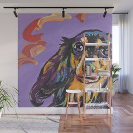 Longhaired Dachshund Fun Dog Portrait bright colorful Pop Art Painting by LEA Wall Mural