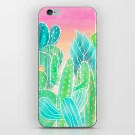 Modern tropical exotic summer cactus illustration pink ombre watercolor iPhone Skin