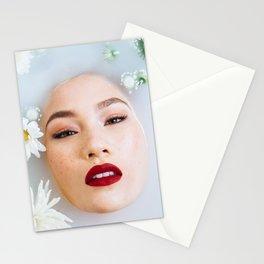Asian Woman in Milk Bath Stationery Cards