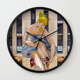 Seated Ballerina at Rockefeller Center 3 Wall Clock