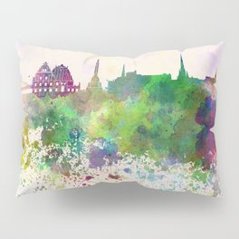 Riga skyline in watercolor background Pillow Sham