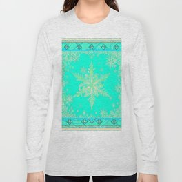 TURQUOISE ICELANDIC STYLE YELLOW SNOWFLAKE SKI  ART Long Sleeve T-shirt