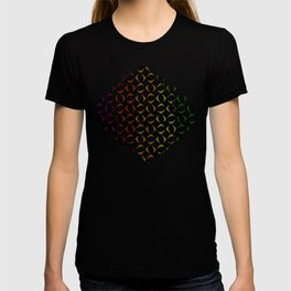 Pattern of multi-colored rhombuses and triangles. T-shirt