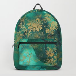 Pretty Green Watercolor With Gold Distressed Floral Backpack