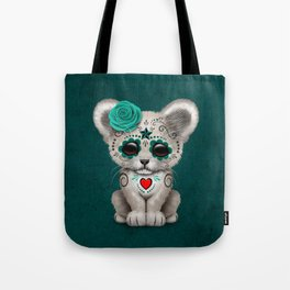 Teal Blue Day of the Dead Sugar Skull White Lion Cub Tote Bag