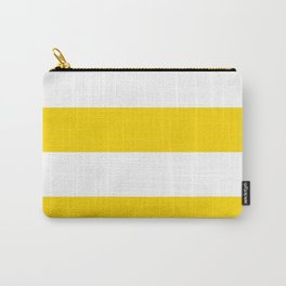 Wide Horizontal Stripes - White and Gold Yellow Carry-All Pouch