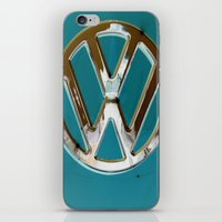 vw bus iPhone & iPod Skins featuring Turquoise Beauty VW Bus by wildVWflower