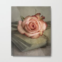 Pale pink on pile of old letters Metal Print