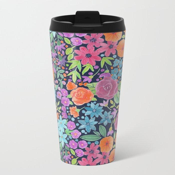 Floral watercolor pattern Metal Travel Mug