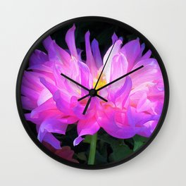 Stunning Pink and Purple Cactus Dahlia Wall Clock