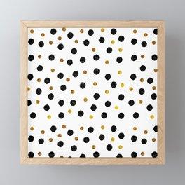 Black & Gold Glitter Confetti on white background- Elegant pattern Framed Mini Art Print