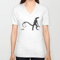 xenomorph V-neck T-shirts featuring Papa Xenomorph by Arigon