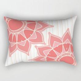 Pastel color coral pink floral mandala stripes Rectangular Pillow