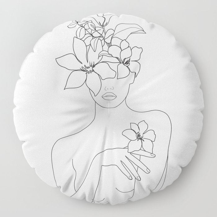 Minimal Line Art Woman with Flowers IV Floor Pillow