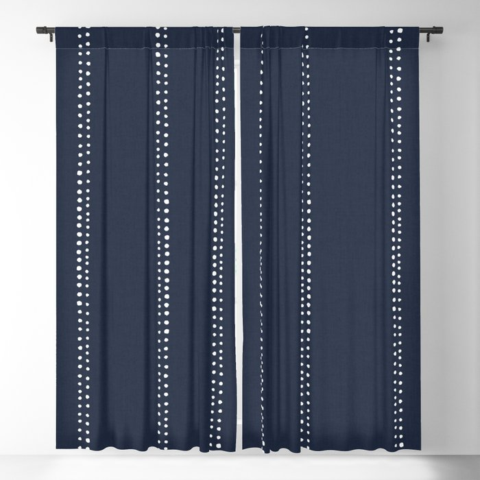 Navy Blue Dotted Stripes Blackout, Navy Striped Curtains