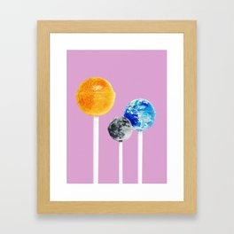 SUN MOON EARTH LOLLIPOPS Framed Art Print