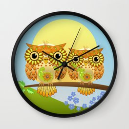 Spring owls on a sunny day Wall Clock