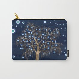 Nazar Charm Tree - Gold on Dark Blue Carry-All Pouch