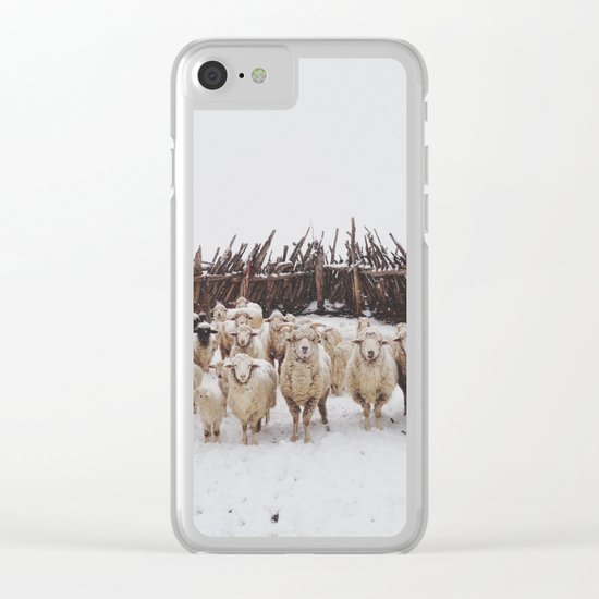 Snowy Sheep Stare Clear iPhone Case