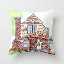 Krissinger House, 1920s, brick, watercolor Throw Pillow