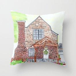 Krissinger House, 1920s, brick, watercolor Throw Pillow