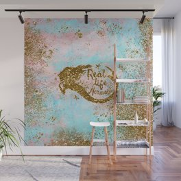 Faux Gold Glitter- REAL LIFE MERMAID On Sea Foam Wall Mural
