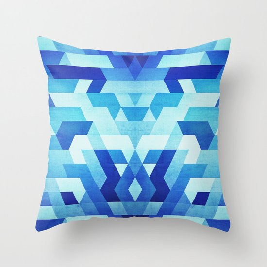 Ice Blue Throw Pillows : Abstract geometric triangle pattern (futuristic future symmetry) in ice blue Throw Pillow by ...