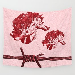 Barbed Wire Peony Print Wall Tapestry