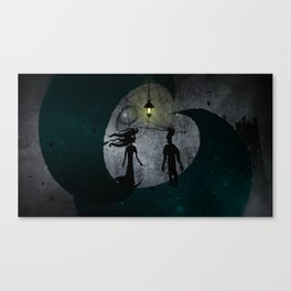 The Man and The Girl on Moons Canvas Print