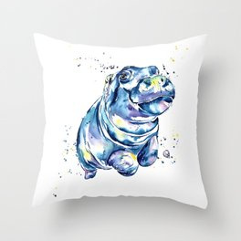 Hippo Colorful Watercolor Hippo Painting - Grace Throw Pillow