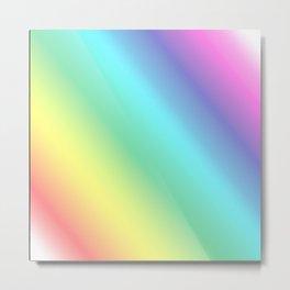 Pastel Diagonal Rainbow Metal Print