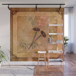 Music, pipe with clef and key notes Wall Mural