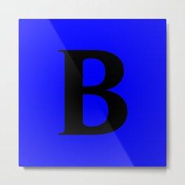 B MONOGRAM (BLACK & BLUE) Metal Print