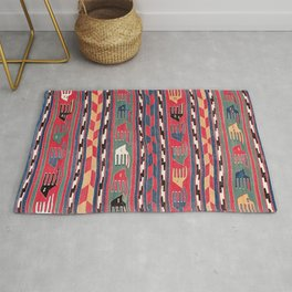 Southwestern Nomad I // 18th Century Colorful Red Blue Green Yellow Shapes and Bands Pattern Rug