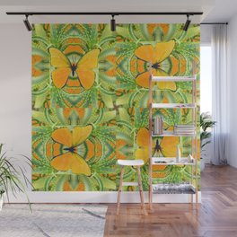 GOLDEN BUTTERIES ON GREEN ALOE CACTUS DESIGNS Wall Mural