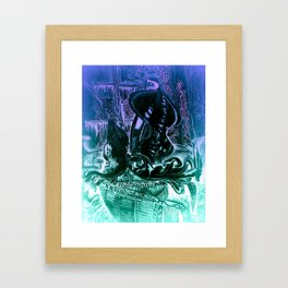 The squid and the dragon Framed Art Print