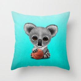 Cute Baby Koala Playing With Basketball Throw Pillow
