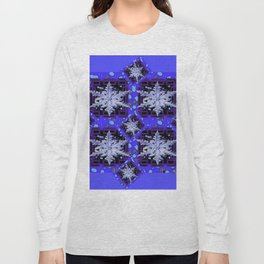 BLUE WINTER HOLIDAY SNOWFLAKES PATTERN ART Long Sleeve T-shirt