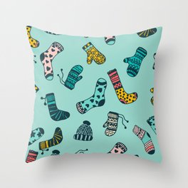 Socks and Mittens Pattern Throw Pillow