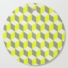 Diamond Repeating Pattern In Limelight Yellow Gray and White Cutting Board