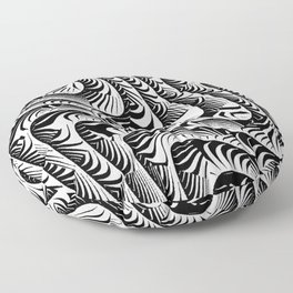 Black and White Serpentine Pattern Floor Pillow