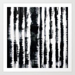 Tie-Dye Shibori Stripe BW Art Print