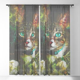 cat turquoise eyes splatter watercolor Sheer Curtain