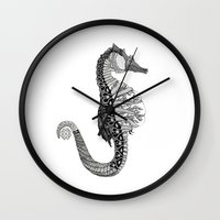 seahorse Wall Clocks featuring SEAHORSE by VOLPINE