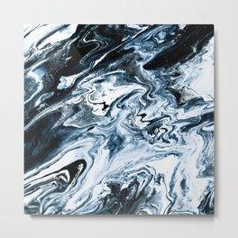 M A R B L E - dark blue & white Metal Print