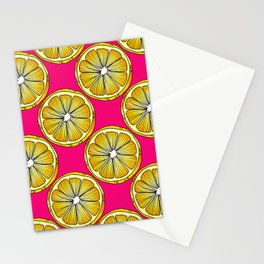 Lemon Slices Repeating Pattern on Pink Stationery Cards