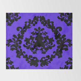 Victorian Damask Purple and Black Throw Blanket