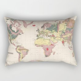 Vintage Geological Map of The World (1856) Rectangular Pillow
