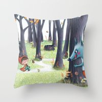 red riding hood Throw Pillows featuring Red Riding Hood by Antoana Oreski Illustration